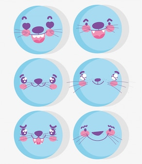 Emojis kawaii cartoon expression blue aminal faces set