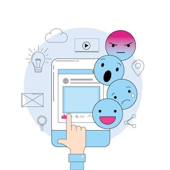Сообщение emojis со средствами массовой информации на смартфоне