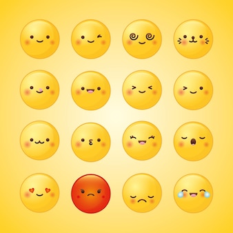 Emojis set with different feelings over yellow background.  illustration