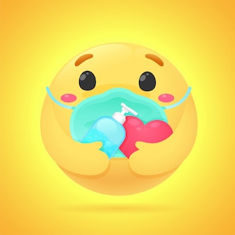 Emojis showing anxious emotions hold an alcohol gel for washing hands and wearing a mask