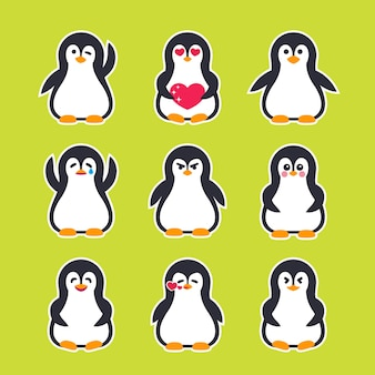 Emojis vector stickers with pinguin character