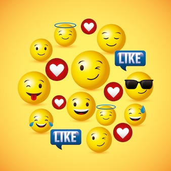 Emojis yellow round face background