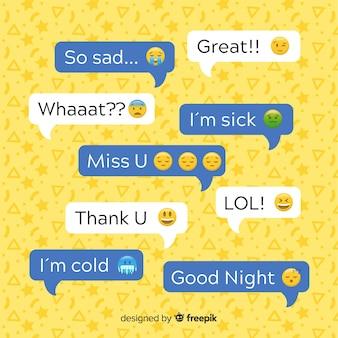 Плоский дизайн сообщения пузыри с emojis вдоль выражений