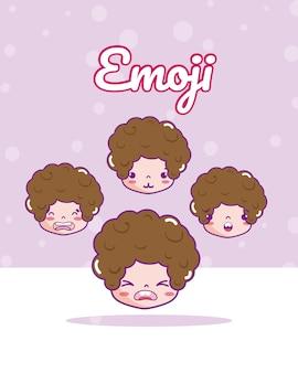 かわいい男の子emojis漫画ベクトルイラストグラフィックデザイン