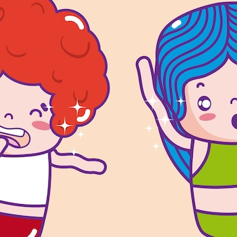 かわいい子供たちemojisのイラスト
