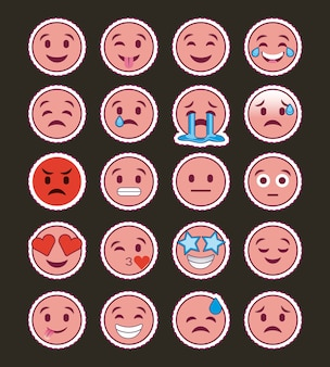 Розовая улыбка emojis коллекция
