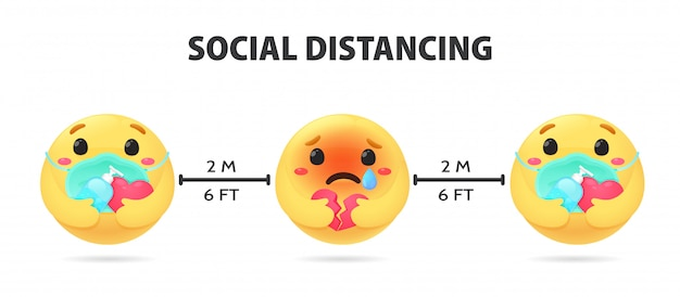 Социальное дистанцирование. emojis показывает тревожные эмоции держите спиртовой гель для мытья рук и ношения маски