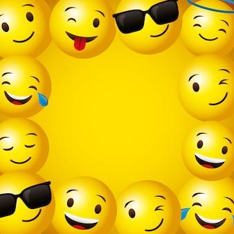 Emojis желтое круглое лицо фон