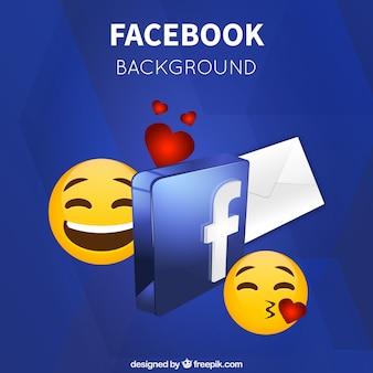 Sfondo emoticon e il simbolo facebook