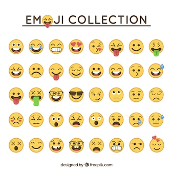 Emoticon collection in flat design