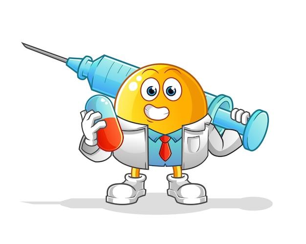 Смайлик-доктор держит мультипликационный персонаж с лекарствами и инъекциями