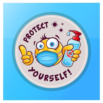 Emoticon emoji with medical mask over mouth showing hand antiseptic or sanitizer vector sticker