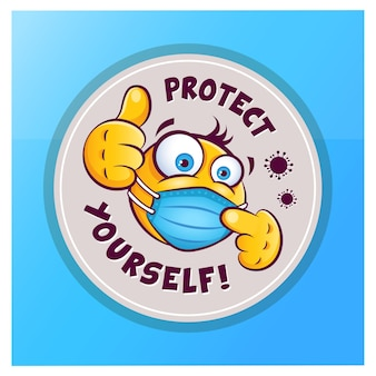Emoticon emoji with medical mask over mouth showing thumb up vector sticker icon with emoji