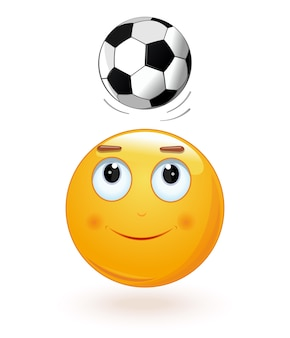 Emoticon face bumping soccer ball on its head