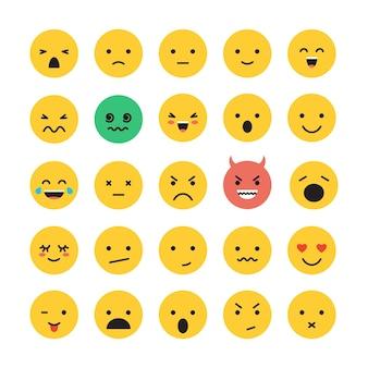 이모티콘 얼굴 미소 설정 벡터 일러스트 레이 션 모바일 앱 및 웹 사이트에 대 한 흰색 배경에 고립