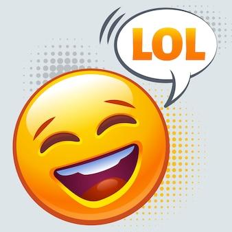 Смайлик громко смеется. знак lol.