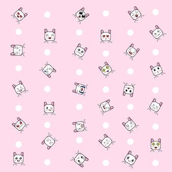 픽셀 아트 스타일의 이모티콘 패턴