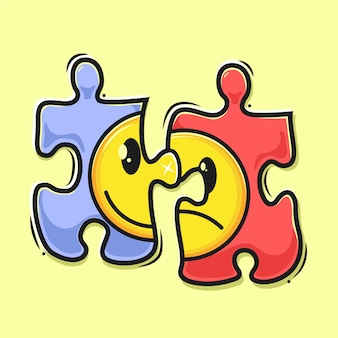 Emoticon on puzzle cartoon illustration