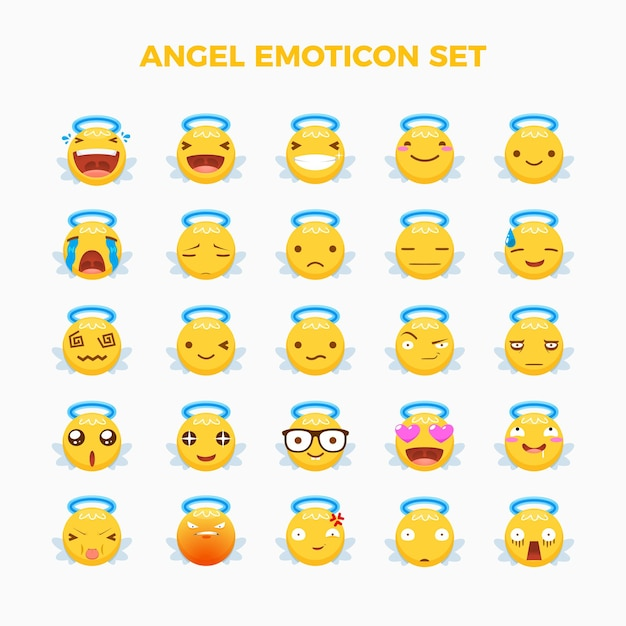 Emoticon set of angel. isolated vector illustration