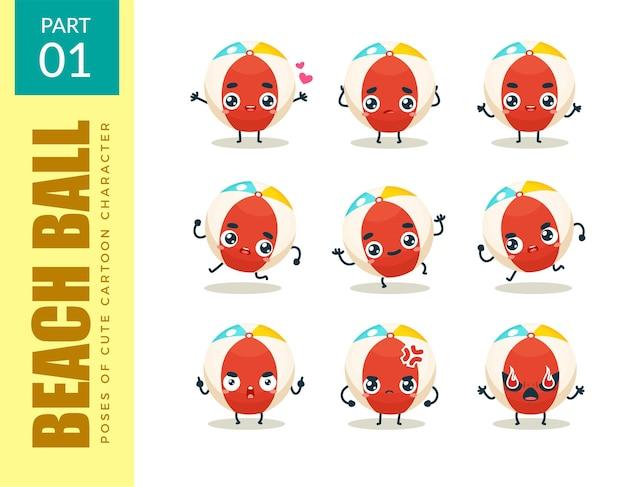 Emoticon set di pallone da spiaggia. primo insieme. illustrazione vettoriale