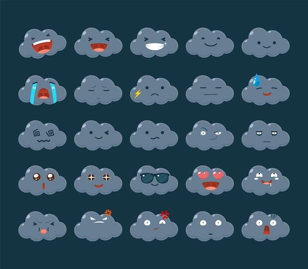 Emoticon set of the dark cloud.