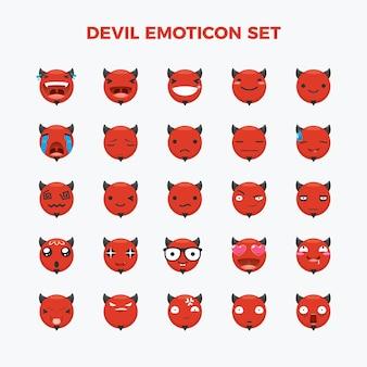 Набор смайликов дьявола. изолированные векторные иллюстрации