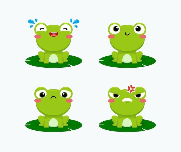 Набор смайликов милой зеленой лягушки