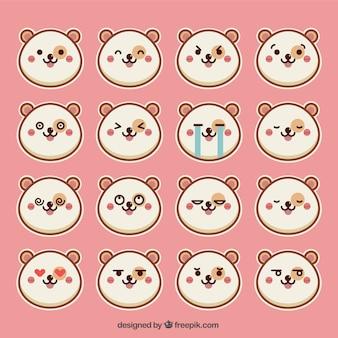 Emoticon set of round hamster