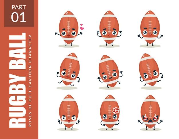 Emoticon di palla da rugby. primo insieme. illustrazione vettoriale
