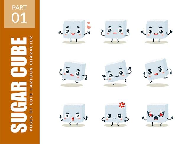 Emoticon set di zolletta di zucchero. primo insieme. illustrazione vettoriale