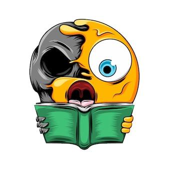 책을 들고 어두운 두개골에 구멍 입으로 이모티콘 충격 표현