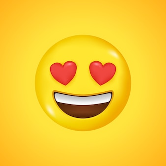 Emoticon smiling face. love symbol. big smile in 3d