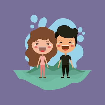 Emoticons couple in the field kawaii characters