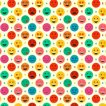 Emoticons and dots seamless pattern template