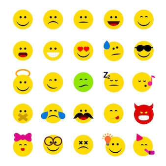 Emoticons, emoji vector illustration set of emoticons idolsted on whiite background, faces with different emotrions, facial expressions.