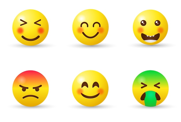 Emoticons emoji with different reactions for social network