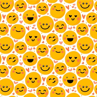 Emoticons and hearts seamless pattern template