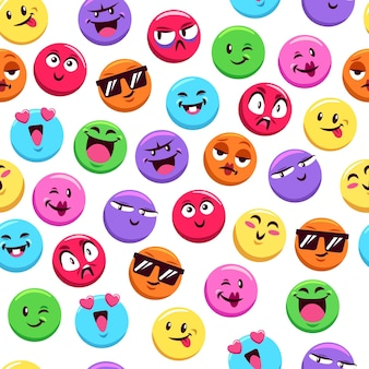Emoticons pattern template on white background