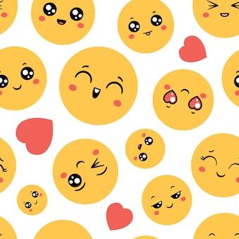絵文字のシームレスなパターン。面白いプリントデザインの絵文字幸せそうな顔。漫画の絵文字、メッセージシンボルとスマイリーアイコン、ベクトルの壁紙。恋にまばたき、笑い、そして陽気な顔