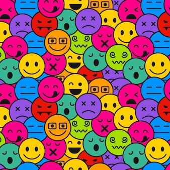 Emoticons seamless pattern template