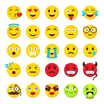 Emoticons set. emoji faces emoticon funny smile vector packs collection