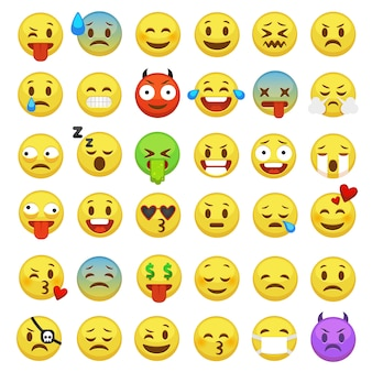 이모티콘 설정합니다. 이모티콘 얼굴 이모티콘 미소 재미있는 디지털 스마일 표현