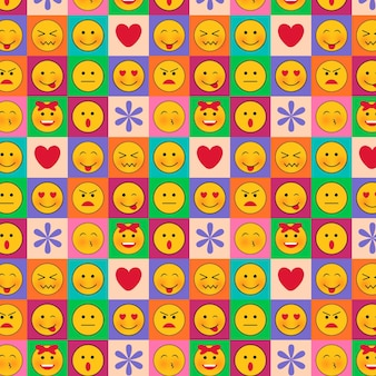 Emoticons in squares seamless pattern template