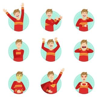 Emotion body language illustration set with guy demonstrating