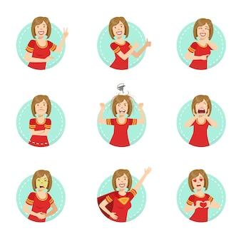 Emotion body language иллюстрация набор с женщиной, демонстрирующей
