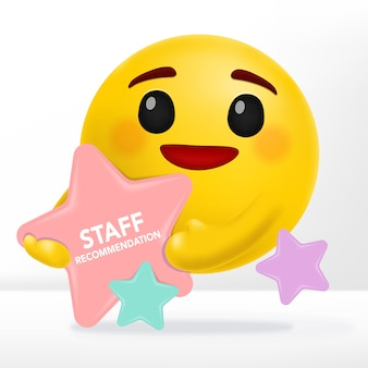 Emotion cartoon with star shape message board for sale, recommendation or new items announcements.