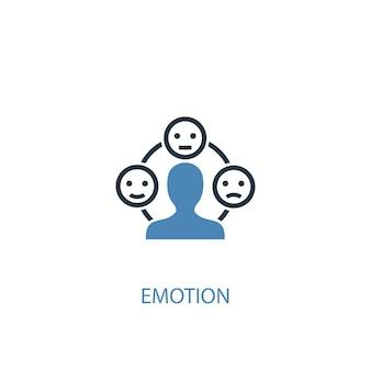 감정 개념 2 컬러 아이콘입니다. 간단한 파란색 요소 그림입니다. 감정 개념 기호 디자인입니다. 웹 및 모바일 ui/ux에 사용할 수 있습니다.