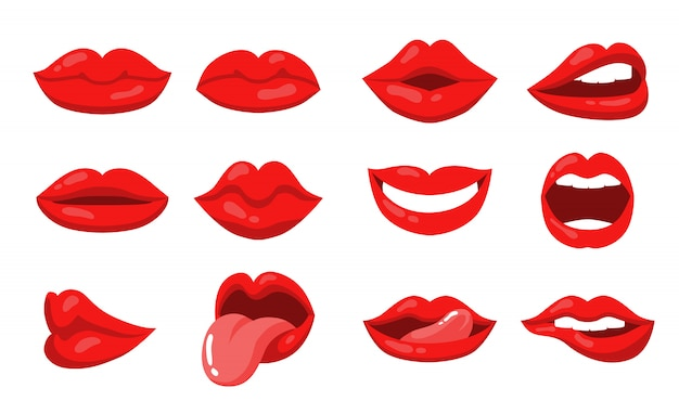 Emotion expression with female lips and mouth set