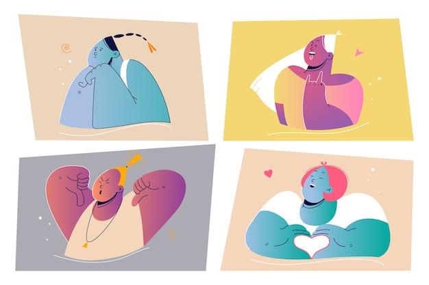Эмоции, выражение лица набор концепции. иллюстрация положительных и отрицательных эмоциональных людей для печати