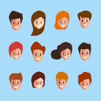 Emotion face of people man and woman flat design.